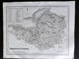 Bell & Fullarton C1835 Antique Map. Somersetshire, UK